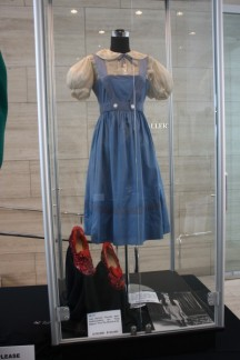 "Judy Garland's test dress and ruby red slippers from ""The Wizard of Oz"""
