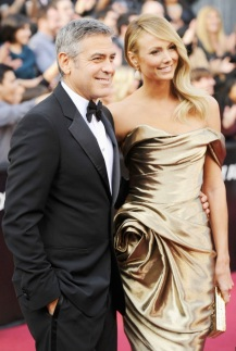 George Clooney in Giorgio Armani & Stacy Keibler in Marchesa