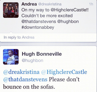 Hugh Bonneville's tweet to me