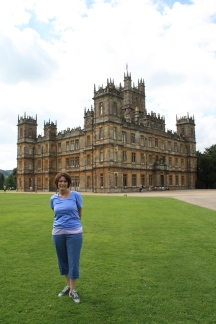 Mom in front of Downton Abbey